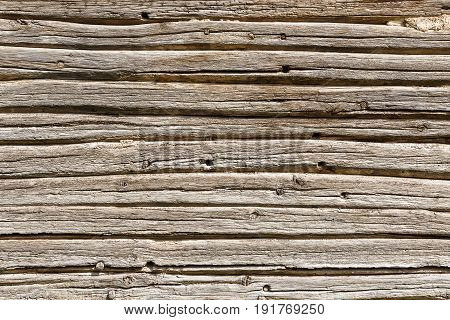 wooden background or texture. Empty template. Copy space. Old gray wood planks with furrows