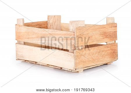 empty wooden crate isolated on white background