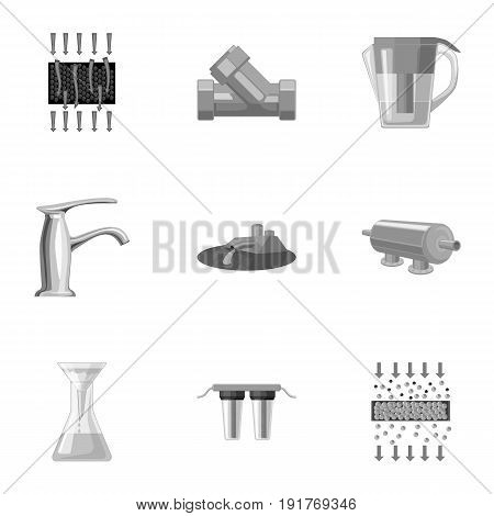 Set of icons on the theme of water. Water is the most important in the world. water filtration icon in set collection on monochrome style vector symbol stock web illustration.