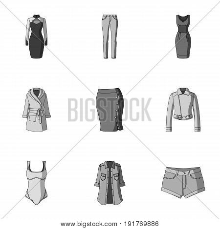 Collection of icons of womens clothing. Various women's clothes for work, walking, sports. Women clothing icon in set collection on monochrome style vector symbol stock web illustration.