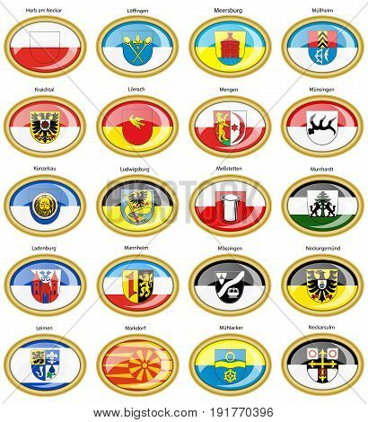 Set Of Icons. Flags Of German Cities (baden-wurttemberg).