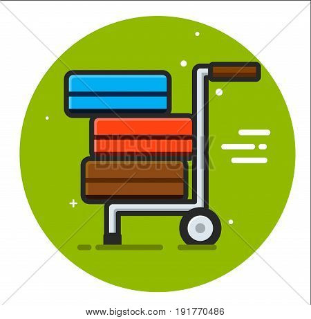 Packages delivery trolley icon illustration design rasterized