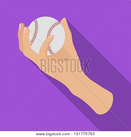 Hand with ball. Baseball single icon in flat style vector symbol stock illustration .