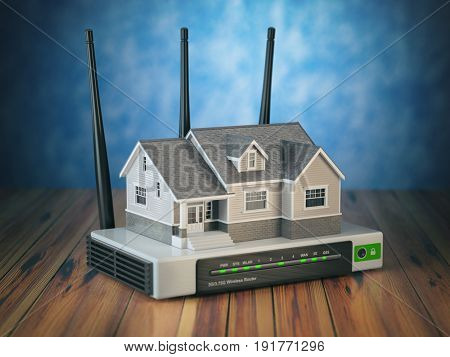Home wireless network. House and wi-fi router on wooden table and blue background. 3d illustration poster