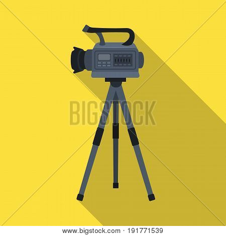 Movie camera on a tripod. Making a movie single icon in flat style vector symbol stock illustration .