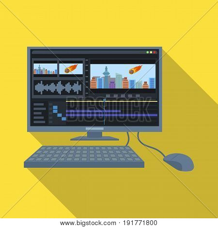 Computer with keyboard.Making movie single icon in flat style vector symbol stock illustration .