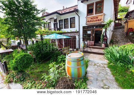 Melnik, Bulgaria - May 11, 2017: Street view with traditional bulgarian houses of Revival period in Melnik, Bulgaria