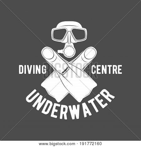 Scuba diving label emblem and designed elements. Underwater swimming logo. Sea dive, spearfishing, vector illustration.