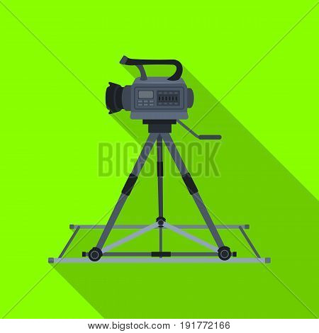 Camera moving on rails.Making movie single icon in flat style vector symbol stock illustration .