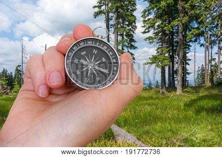 Woman With Compass Is Seeking A Right Way In Forest