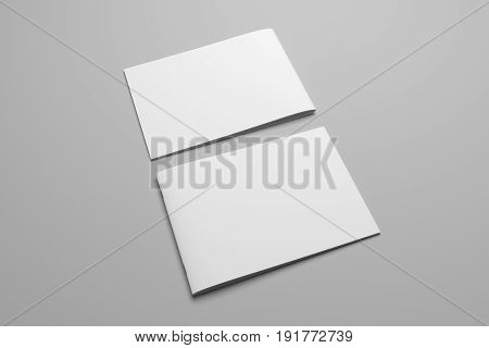 Blank 3D rendering landscape brochure magazine isolated on gray background, with clipping path