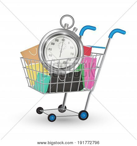 steel stopwatch and bag on a shopping cart