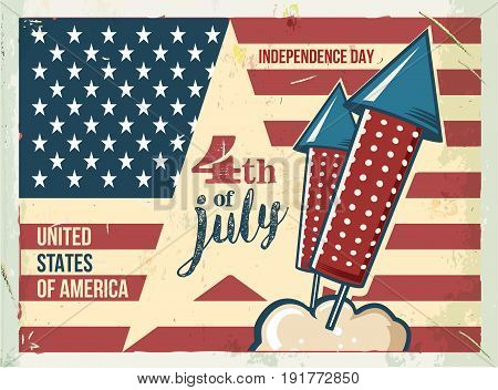 4th of July poster. Grunge retro metal sign with fireworks. Independence day. Celebration flyer. Vintage mockup. Old fashioned design