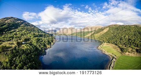 Aerial view of Loch Creran by the Loch Creran bridge, Argyll, Scotland