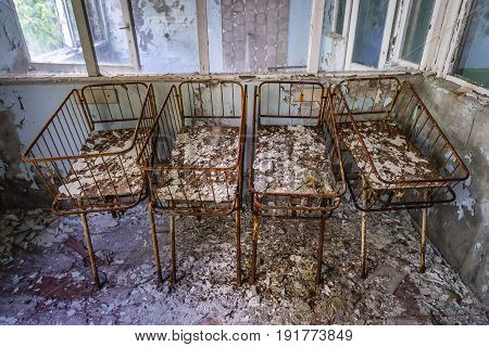 Neonatal ward in abandoned hospital of Pripyat city Chernobyl Exclusion Zone Ukraine