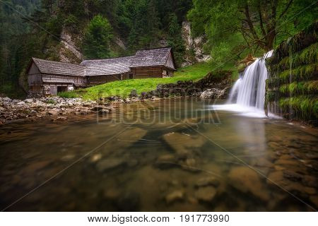 Beautiful Wooden Water Mill At National Nature Reserve Kvacianska Dolina Valley. Slovak Republic.
