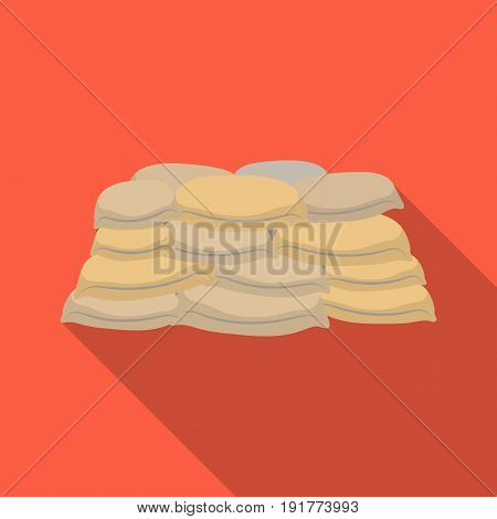 Barricade of bags of sand.Paintball single icon in flat style vector symbol stock illustration .