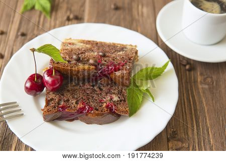 Chocolate Pie With Cherry On Rustic Table