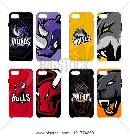 Furious rhino, wolf, bull and panther sport vector logo concept smart phone case. Modern professional team badge. Premium quality wild animal artwork cell phone cover illustration design.
