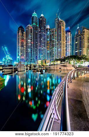 Amazing Tallest Residential Panorama By Night. Dubai Marina Skyline, United Arab Emirates.