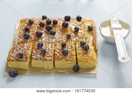 Three milk cake with blueberries and icing