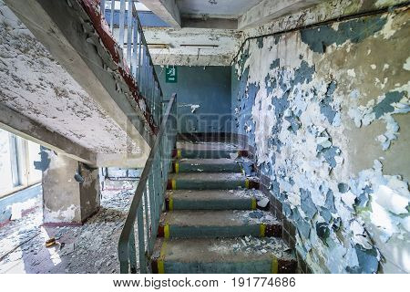 Communication center building of abandoned military town called Chernobyl-2 in Chernobyl Exclusion Zone Ukraine