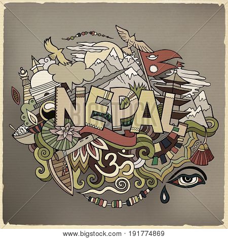 Nepal country hand lettering and doodles elements and symbols background. Vector hand drawn illustration