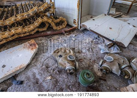 Gas mask in abandoned military town called Chernobyl-2 in Chernobyl Exclusion Zone Ukraine