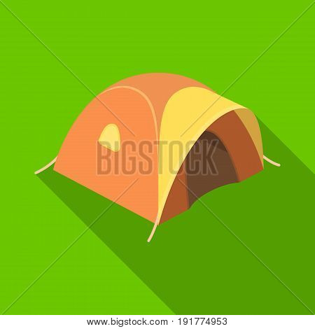 Tent tourist with awning.Tent single icon in flat style vector symbol stock illustration .