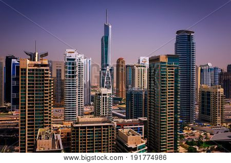 Amazing Colorful Dubai Marina Skyline With Water Canal And Expensive Yachts, Dubai, United Arab Emir