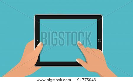Hand touching blank screen of tablet computer. Using digital tablet pc, flat design concept. Eps 10 vector illustration