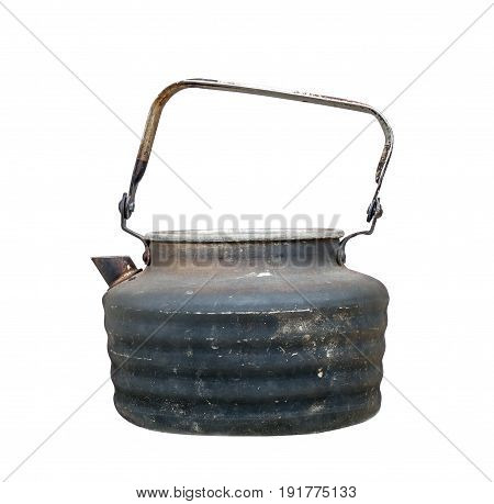 Old used teapot isolated on white background