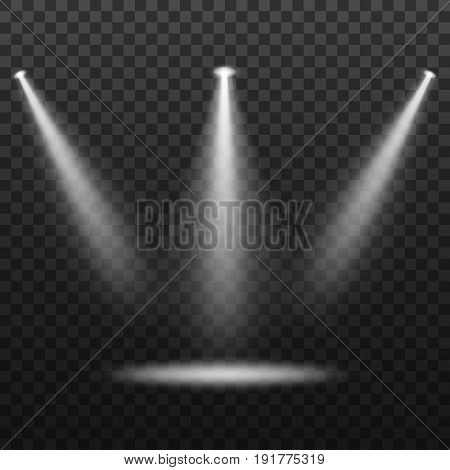 Spotlights. Light sources, concert lighting, stage spotlights set.
