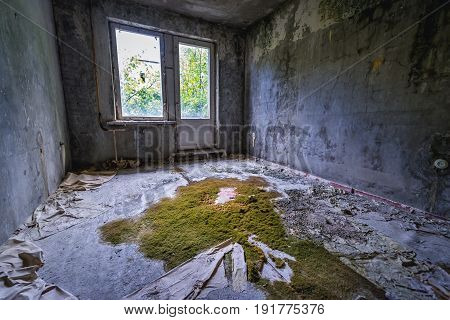 Inside the flat of residential building in abandoned military town called Chernobyl-2 in Chernobyl Exclusion Zone Ukraine