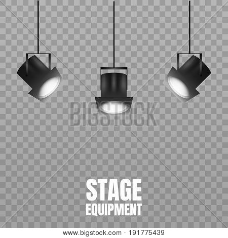 Scenic spotlights equipment. Stage lights isolated on transparent