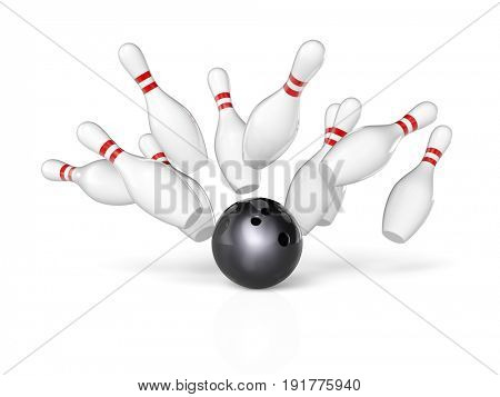 bowling sport concept 3d rendering image background
