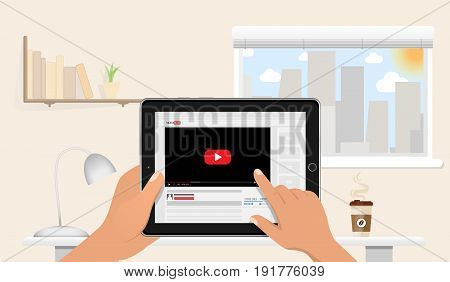 Hands holding tablet pc mockup with online video blog screen. above the table in home office. Sunny day. Vlog concept. Vector illustration