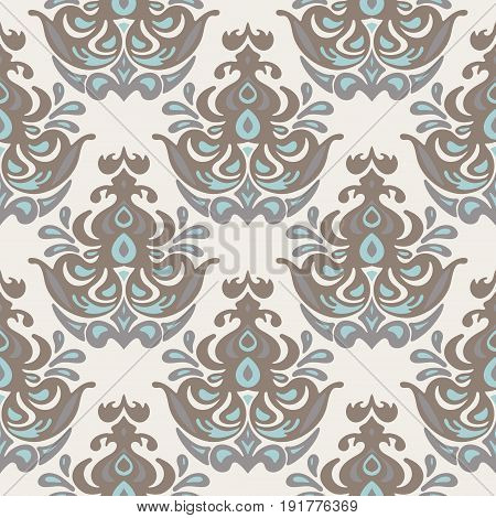 Vintage damask seamless pattern. Victorian style wallpaper medallion flower design