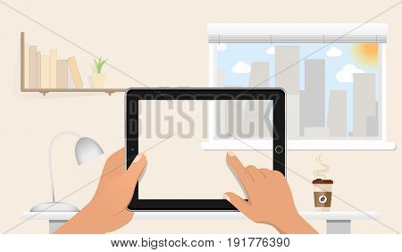 Hands holding Blank tablet pc without screen on the table in home office. Window, night cite, books, lamp and coffee on the background. Vector illustration