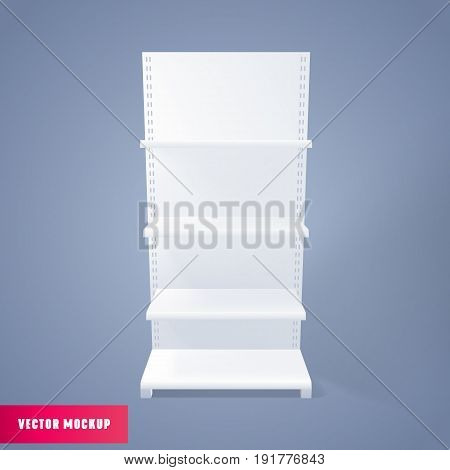 Empty Showcase Display Retail Shelves Mockup. Vector 3d White bookstore advertising stand.