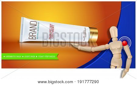 Pain relief ointment horizontal banner with realistic design blank white cosmetic tube pack Of Cream Or Gel. Wooden mannequin. Vector illustration