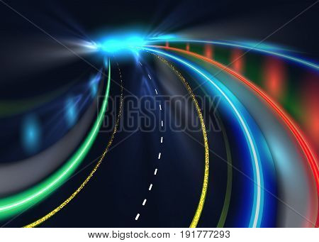 City road car light trails. High speed vector background. Illumination of road with speed car motion illustration.