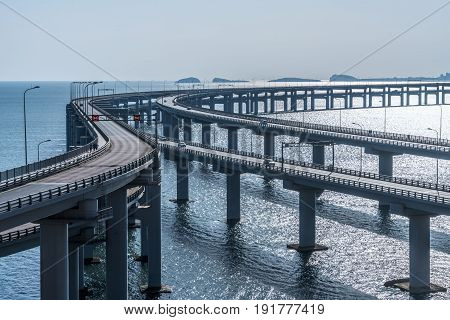 perspective view of cross the sea highway bridge,Dalian,China.