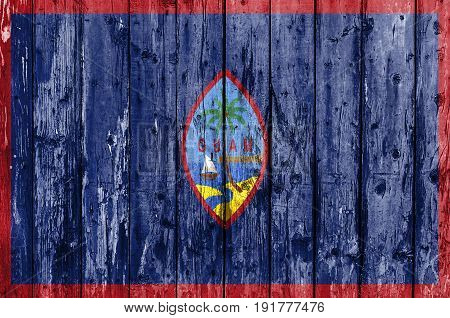 Flag of Guam painted on wooden frame