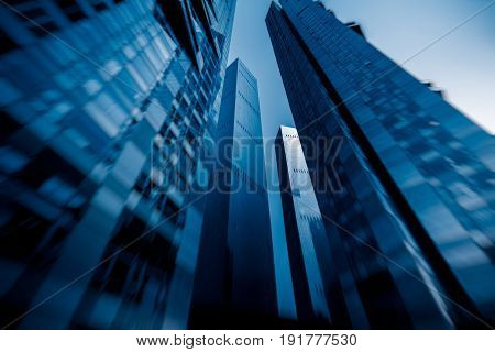 low angle view of skyscrapers business district in Shanghai China.