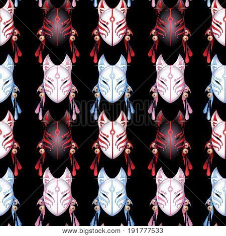 Japanese deamon fox mask in red, pink and blue colors. Vector seamless pattern