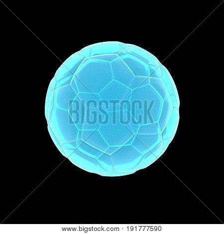 transparent light blue xray soccer  in 3D rendering