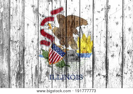 Flag of Illinois painted on wooden frame
