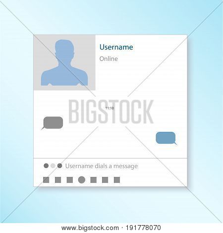 dialog box with messages. Write a message to the person. Online on social networks. Box online chat