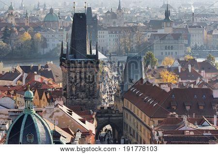 Two bridge towers in the Charles bridge Lesser Town Prague